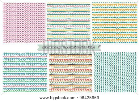 Hand Painted Set Of Colorful Marker Seamless Backgrounds. Vector Abstract Seamless Patterns.