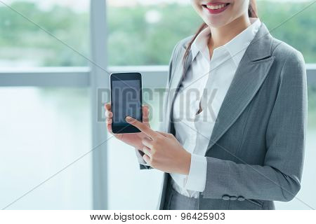 Showing smartphone