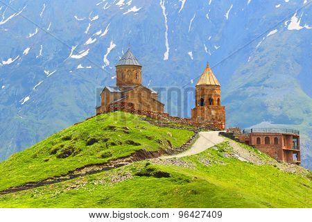 Georgia. Kazbegi.Gergeti's church in Stepantsminda. Caucasus.
