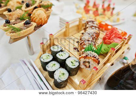 Food Of Sushi On Wedding Reception