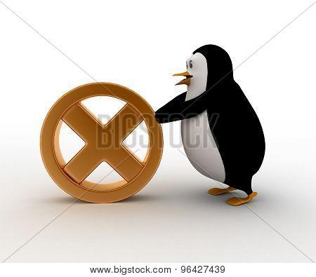 3D Penguin Rolling  Cross Symbol Concept