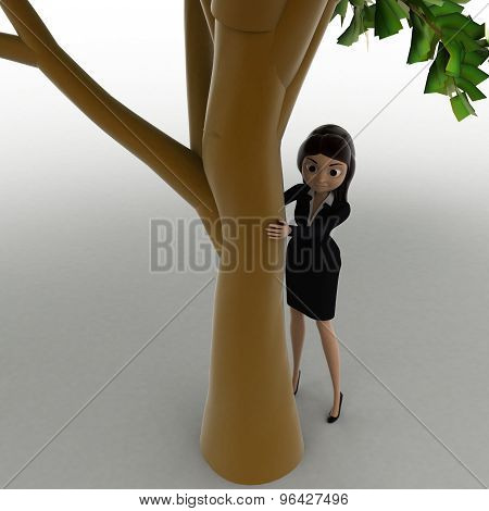 3D Woman Hiding Behind Truck Of Tree Concept