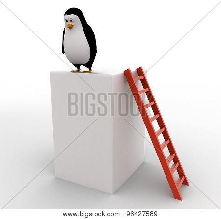 3D Penguin Climb Up Big Cube Using Red Ladder Concept