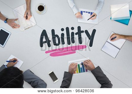 The word ability against business meeting
