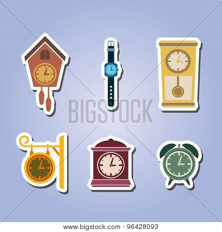 set of color icons with clock