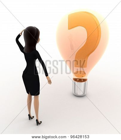 3D Woman Looks Confused While Looking At Question Mark On Bulb Concept