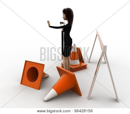 3D Woman With Diiger Tool And Traffic Cones To Stop Concept