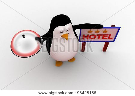 3D Penguin With Food Dish And 3 Star Hotel Board Concept