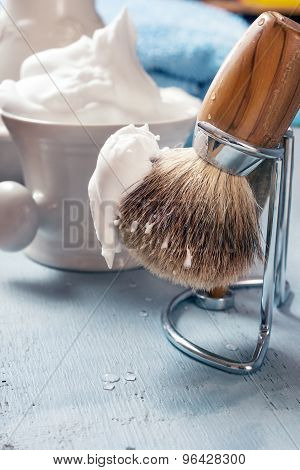Shaving Tools On Wooden Table