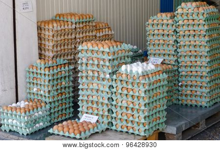 Stall Selling Eggs On Plate Piraeus Port