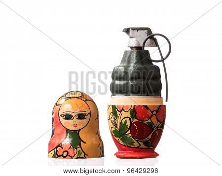 Russian Matryoshka doll with a hand grenade inside