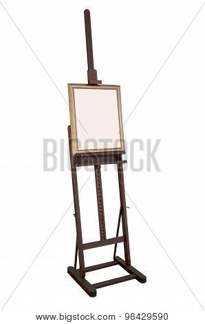 Wooden ancient easel with blank canvas