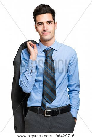 Handsome businessman holding his jacket