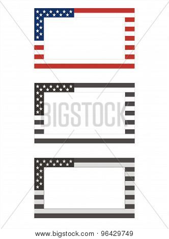 Three frames in the colors of the American flag. Vector Illustration