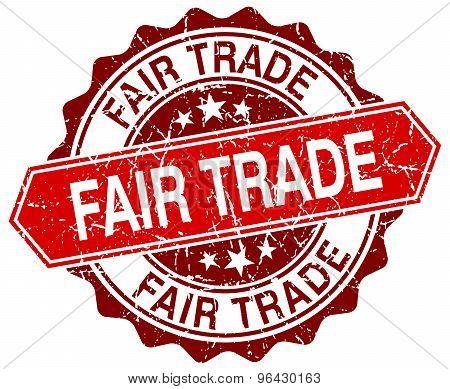Fair Trade Red Round Grunge Stamp On White