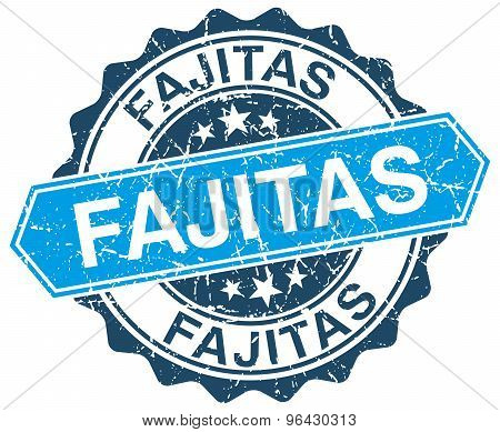 Fajitas Blue Round Grunge Stamp On White