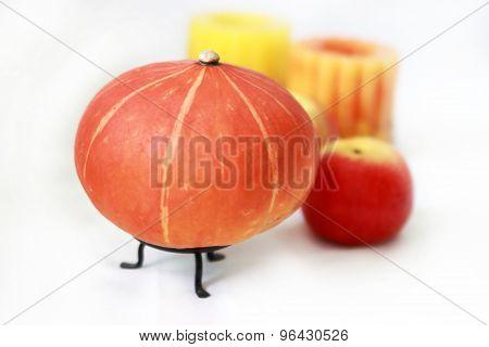 pumpkin, apple, candle