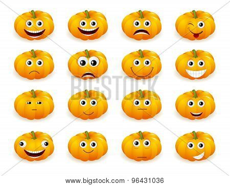 halloween pumpkin faces with emotions isolated