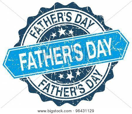 Father's Day Blue Round Grunge Stamp On White
