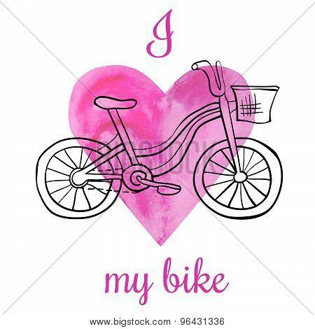 Vector Illustration I Love My Bike