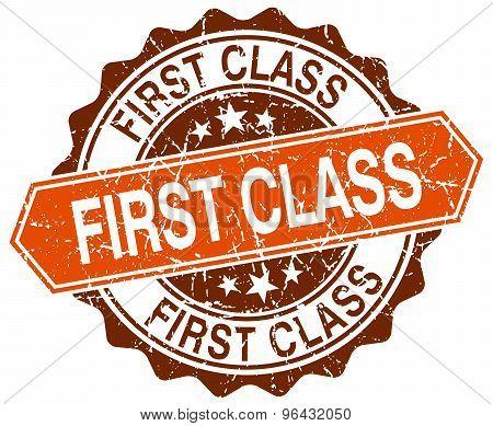 First Class Orange Round Grunge Stamp On White