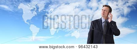 International businessman talking on the phone global communication