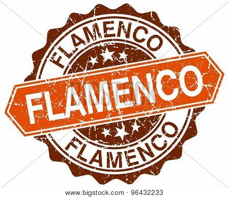 Flamenco Orange Round Grunge Stamp On White