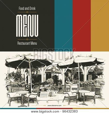 Retro restaurant menu design. With a sketch pictures