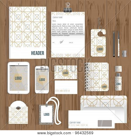 Vector creative colorful wave corporate identity set of Stationery Branding on wooden background. Co