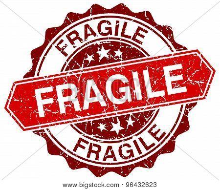 Fragile Red Round Grunge Stamp On White