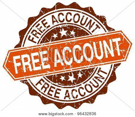 Free Account Orange Round Grunge Stamp On White