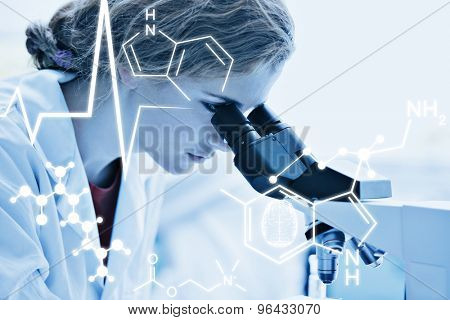 Science graphic against close up of a science student looking into a microscope