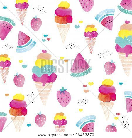 Colorful watercolor ice cream summer popsicle strawberry fruit and water melon hearts background pattern illustration