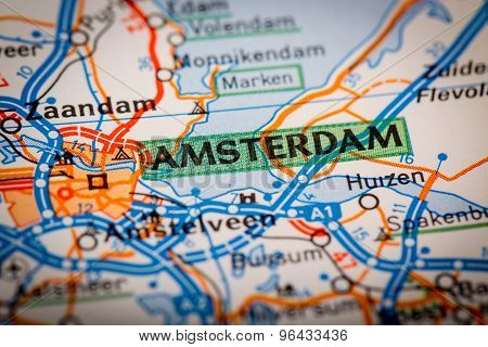 Amsterdam City On A Road Map