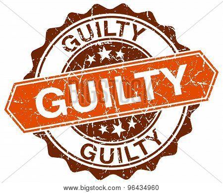 Guilty Orange Round Grunge Stamp On White