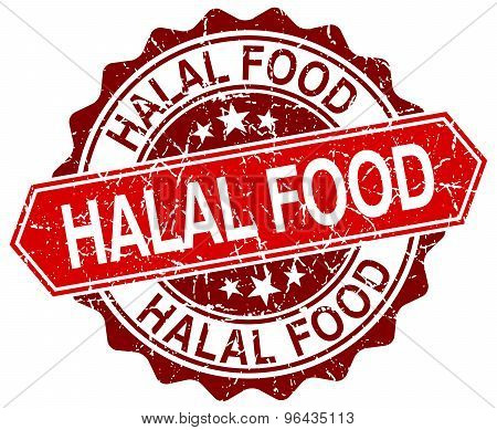 Halal Food Red Round Grunge Stamp On White