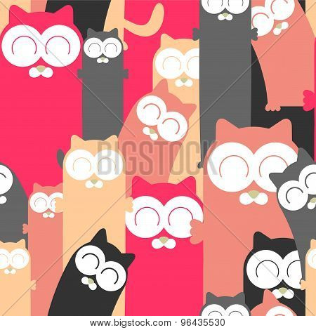 Colorful Seamless Pattern With Funny Cats