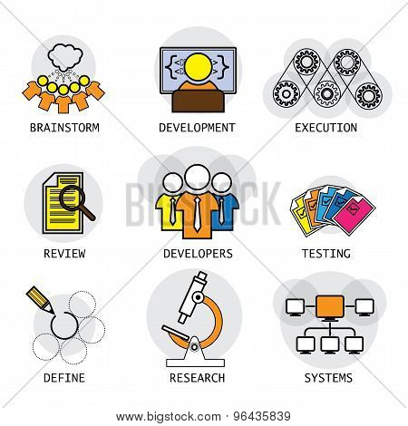 Line Vector Design Of Software Industry Process Of Development & Testing