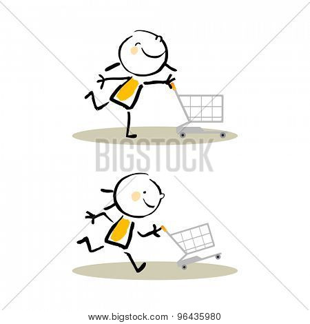 Shopping cart fun kids, cute vector illustration. Doodle stick figure style hand drawing.