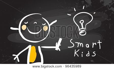 Smart kid with light bulb, chalk on blackboard. Back to school, education vector illustration.