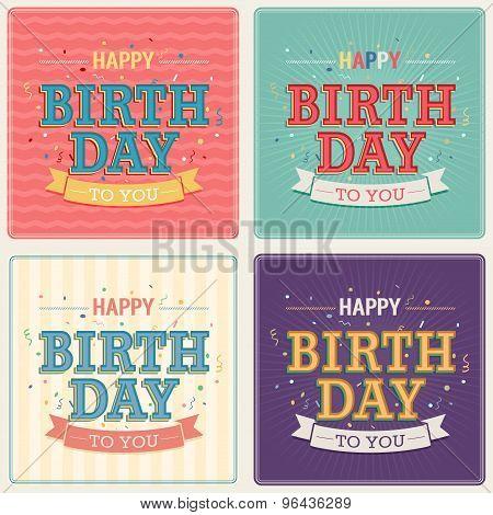 Vintage Card - Happy Birthday Set.