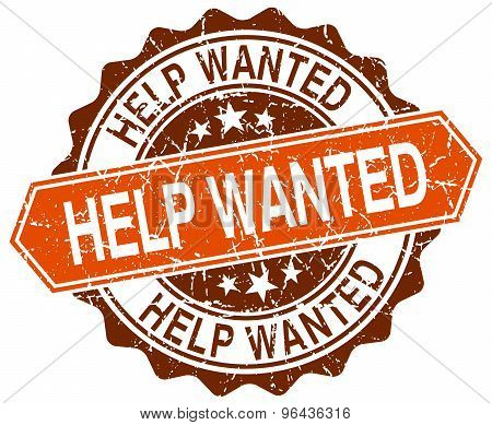 Help Wanted Orange Round Grunge Stamp On White