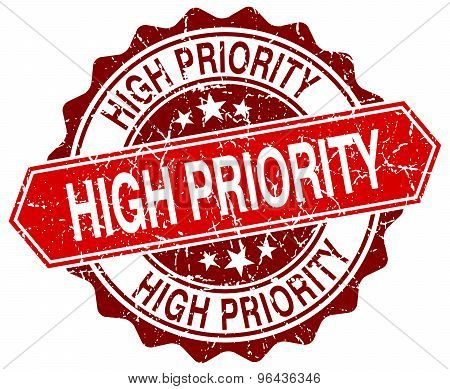 High Priority Red Round Grunge Stamp On White