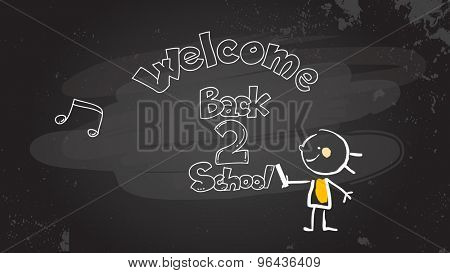 Smart little girl writing welcome back to school on blackboard. Educational sketch, doodle style vector illustration, hand drawn stick figure.