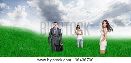 Happy people on field