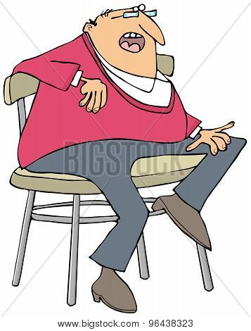Chubby man sitting on a stool