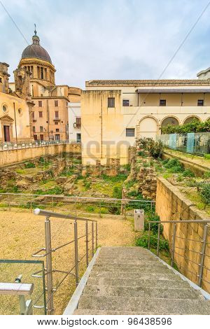 Street View With Roman Ruins In Marsala, Italy