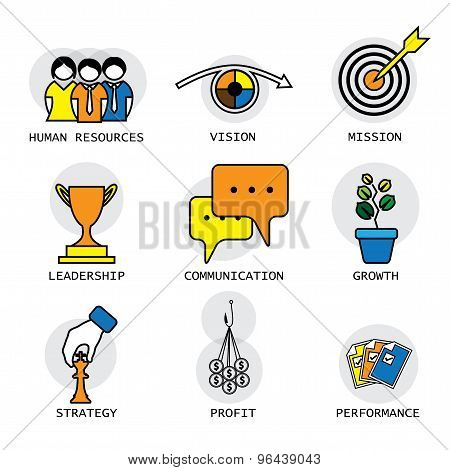 Line Vector Design Of The Company, Performance & Growth Concepts
