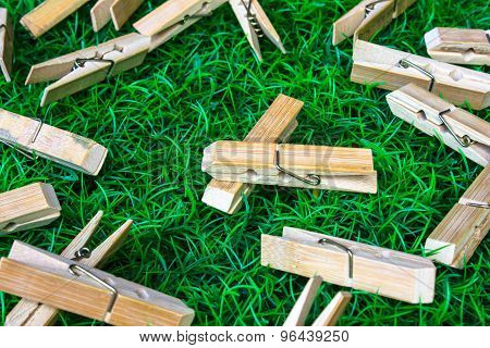Clothespin grass background