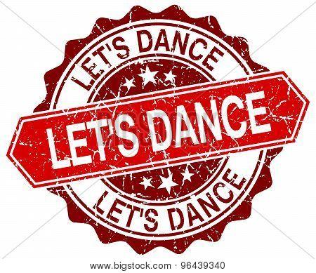 Let's Dance Red Round Grunge Stamp On White